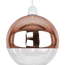 MiniSun - Moderna pantalla para lámpara de techo del famoso estilo 'Arco'- con forma de globo, en dos tonos cobre y cristal transparente