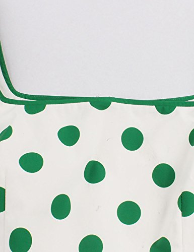 VKStar® 50er Rockabilly Kleid Polka Dots Petticoat Punkte Vintage ärmellos Abendkleid Grün S - 3