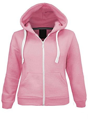 Kids Girls & Boys Unisex Plain Fleece Hoodie Zip Up Style Zipper Age 5-13 Years (9-10 YEARS, Baby Pink)