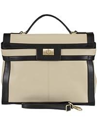 B-L'Article BELUCIA CARRARA Grand Sac porté main,super doux véritable nappa cuir de mouton,Bicolore Beige-Noir