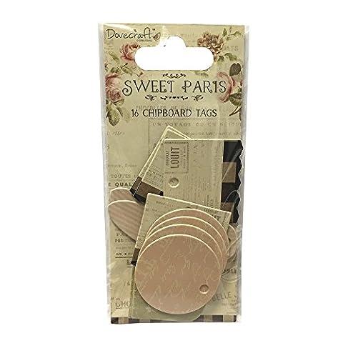 Mini Étiquette Tags Chipboard Sweet Paris 16 pièces - Dovecraft