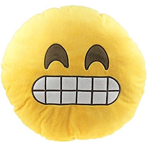 IMOGAN Emoji Emoticono Cojín Almohada Sonriente Riendo Regalo Bordado Púrpura Amarillo Cojín (Emoticono