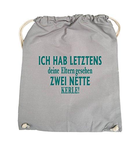 Comedy Bags - Ich hab letztens deine Eltern gesehen zwei nette Kerle! - Turnbeutel - 37x46cm - Farbe: Schwarz / Silber Hellgrau / Tuerkis