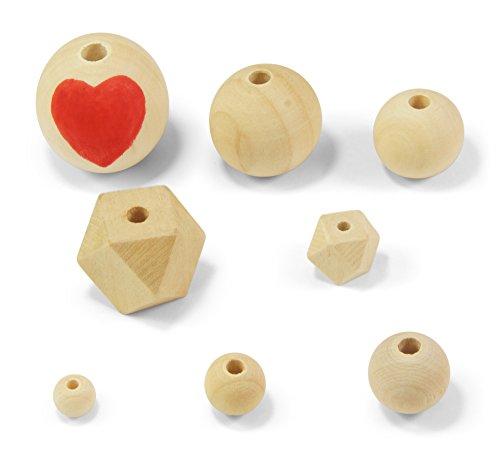 ❤️HobbyHerz Holzperlen Natur zum Fädeln und Basteln Verschiedene Größen + Formen (12mm 50 Stück)