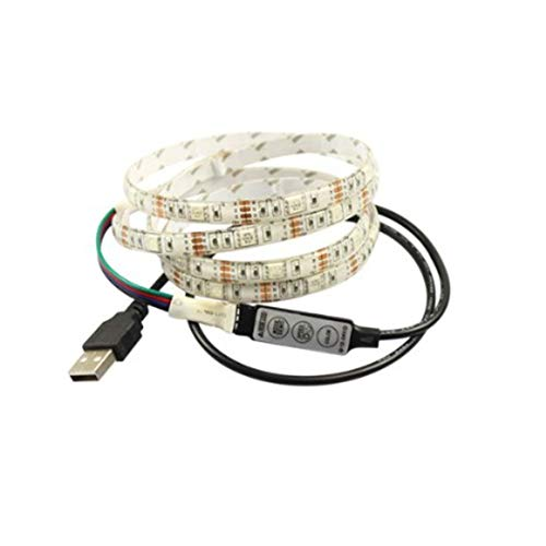 Funnyrunstore Portable SMD 5050 LED Streifen Licht TV USB Hintergrundbeleuchtung Kit Universal RGB TV Hintergrundbeleuchtung 1M Weihnachten Schreibtisch Dekor (Farbe: weiß)
