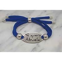Pulsera Te quiero abuela de cordón azulón. Regalos abuelas