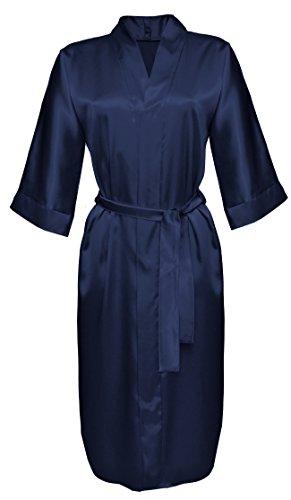 DKaren 115 - Robe de chambre - style kimono - satin Bleu Marine