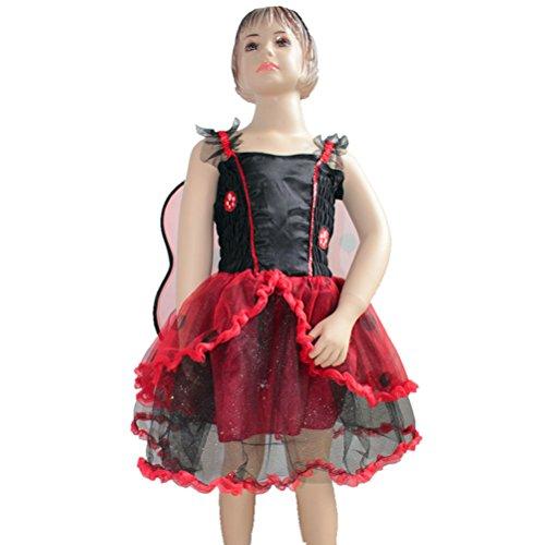LUOEM Biene Kostüm Kleid Kinder Mädchen Bienenkostüm mit Flügel Größe L