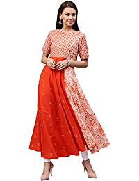 [Sponsored]Jaipur Kurti Women's Cotton Flared Long Kurta With Embroidery (Orange)