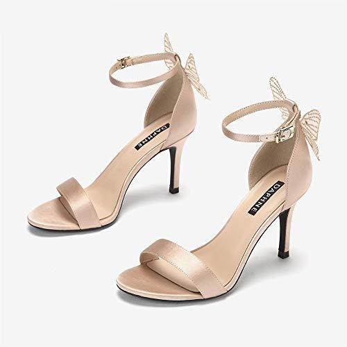 JIAYING Sandalen Damen Sandaletten, Open Toe High Heel, Kleid Sandale, Hot Diamond Butterfly Design, Elegant und Schön, Sommer New Wild Casual Style (Color : A, Size : US7/EU38/UK5/MX24/CN38) -