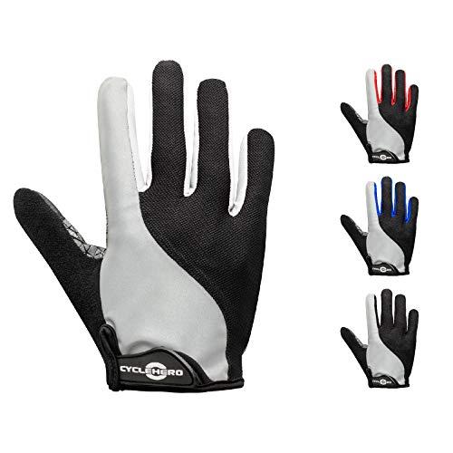 CYCLEHERO Sommerhandschuhe kurz - Reflektor: Fahrradhandschuhe Männer Radsporthandschuhe Fahrrad Handschuhe (weiß - lang, M) (Handschuhe Kaufen Weiße Sie)