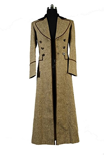 Doctor Who Dr. Ecru Brown Long Trench Coat Suit Cosplay Kostüm Herren (Kostüm Doctor Zehn Who)