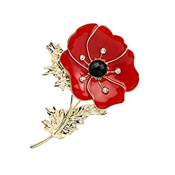 Dura-home Grande Rouge Remembrance Poppy Broche Banquet Cristal badge Doré Fleur Cadeau