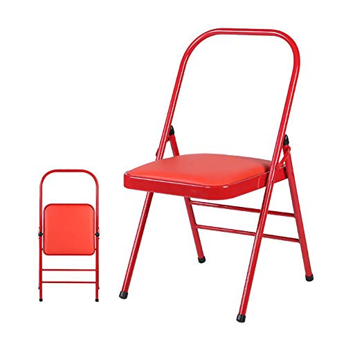 FENGFAN Stühle Falten Yoga Rückenfrei Standard Prop Praxis Asana Aktivität Gepolstert Faltbar (Farbe : Rot) -