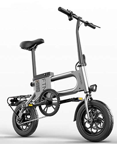 Hold E-Bikes 12-Zoll-Elektro-Klapprad Faltbares, sicheres und verstellbares Fahrrad mit Lithium-Batterie für Erwachsene und Jugendliche@Grau_8Ah