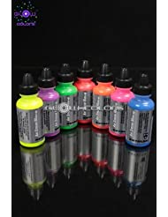 Kryolan - Pack Spéciale Aérographe AIR STREAM 7 couleurs fluorescentes 15 ml