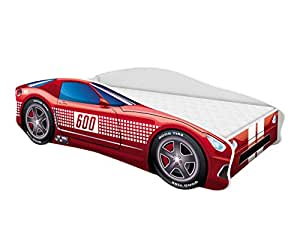 Kinderbett Autobett Auto Junior mit Lattenrost und Matratze 140x70 160x80 180x80 ACMA (140x70, 1)