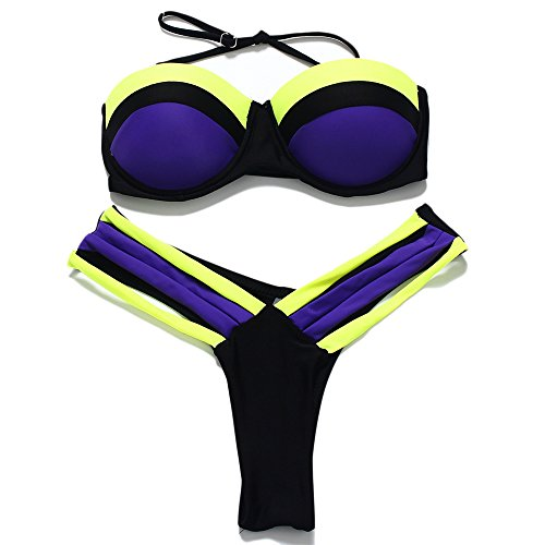 JOTHIN Mädchen Sommer Bikini-set Frauen Push-up Mischfarbe Neckholder Push Up Lila