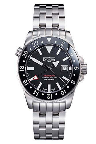 Davosa Black Argonautic Dual Time Diver Helium Valve Wrist Watch