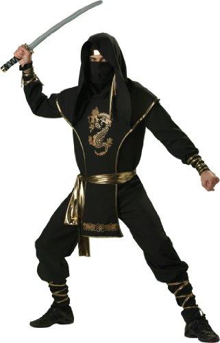Ninja Kämpfer Kostüm schwarz gold - -