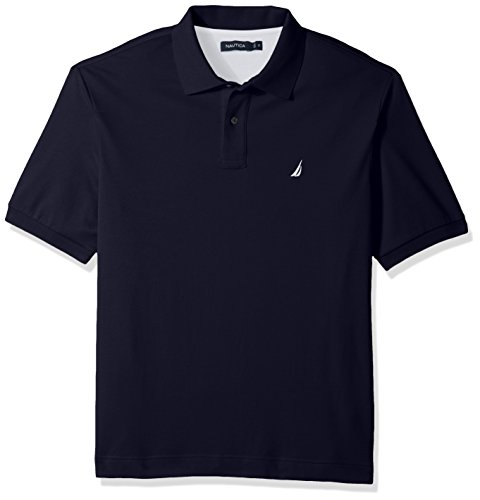Nautica Men's Big Classic Fit Short Sleeve Solid Soft Cotton Polo Shirt, Navy, 2XLT Tall (Herren Tall Big Poloshirt)