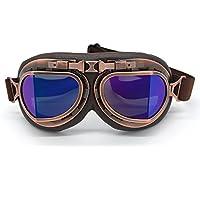 evomosa Motocross-Schutzbrille, Steampunk Vintage Aviator Pilot Stil Motorrad Cruiser Roller Goggle Biker Racer Cruiser Touring Half Helm Brille (Copper, Blue)