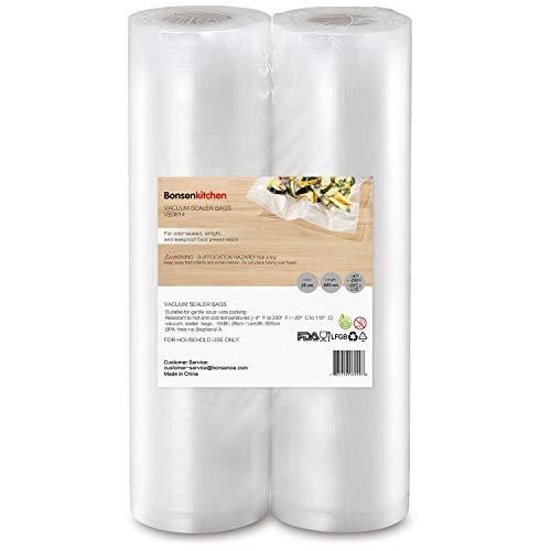 Bonsenkitchen sacchetti per sottovuoto, 2 confezioni 28 x 600 cm (totale 12 m) sacchi commerciali per conservazione alimenti e cottura sous vide, vb3814