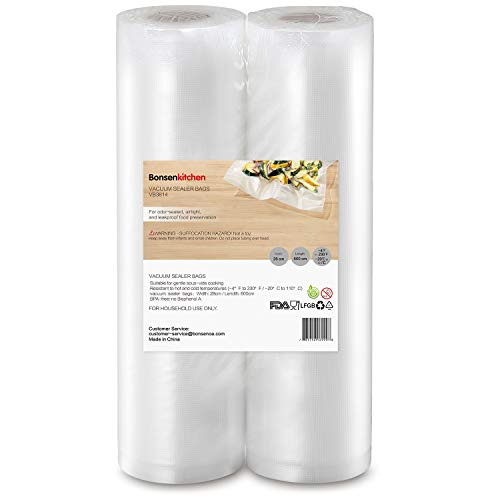 Bonsenkitchen 2 Vakuumierfolie Rollen 28x600cm Profi Vakuumierbeutel für Vakuumierer & Lebensmittel Vakuumiergerät , Kochfest und BPA-frei Sous Vide Beutel