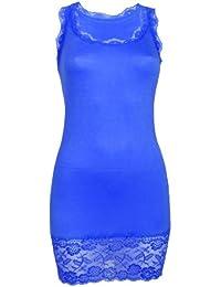 Sexy Spitzen Minikleid Long Top Kleid Partykleid Dress Gr. 34 36 38 S M L Royal Blau