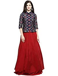 daf3d08b4c Inddus Women's Blue Banarasi Cotton Woven Top with Red Chanderi Cotton  Solid Flared Skirt (IND