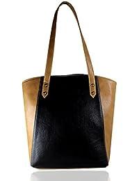 Fargo Motley PU Leather Women's & Girl's Tote Handbag (Black,Beige_FGO-008)