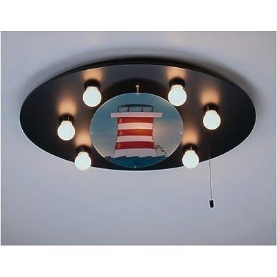Niermann Standby 755 Decken-Bilderleuchte Leuchtturm, inklusive Leuchtmittel: 5 x E14 max.40 Watt + 1 x E14 max. 15 Watt, 53 x 71 x 8 cm, Schlummerlichtfunktion über Zugschalter, Made in Germany von Niermann Standby e.K. Consignment - Lampenhans.de