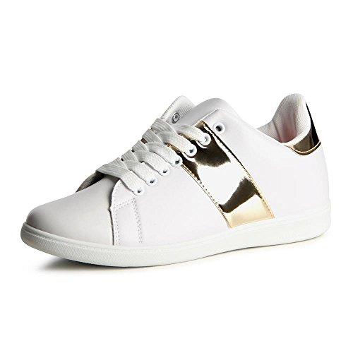 topschuhe24 804 Damen Sneaker Turnschuhe Weiß Gold