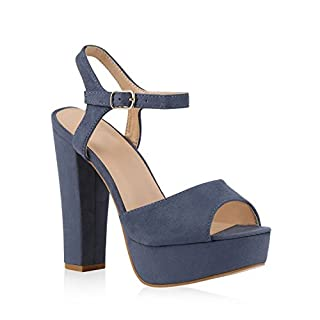 Damen Plateau Sandaletten Peeptoes Party Pumps Blockabsatz High HeelsSatin Samt Strass Fransen Schuhe 140643 Blau Schnalle 39 Flandell