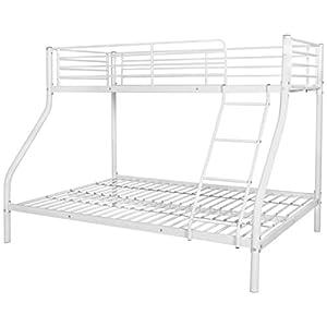 Festnight Metal Triple Sleeper Bunk Bed for Children Kids 200x140/200x90 cm White