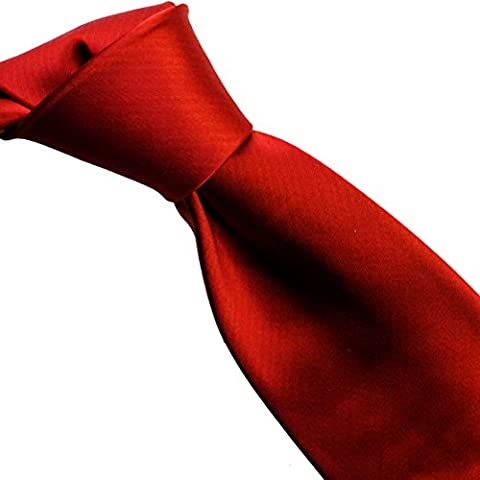 100% pure silk woven neckties solid SO (standard, 01red hot)