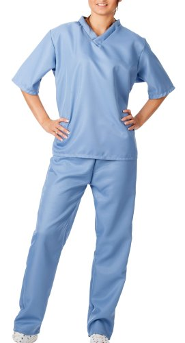 spass42 Damen Kostüm OP Kittel Chirurg Anzug Arzt Ärztin Uniform Doktor Spiele Krankenschwester Halloween Groesse: 48/50/52