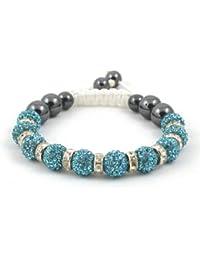 10-Ball Light Blue Bead Shamballa Bracelet with Crystalline Spacers on Black String