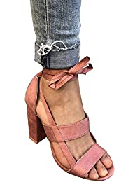 Juleya Sandalias de Verano para Mujer Señoras con Cordones Sandalias de Tacón Alto Tobillo Lazo de Tacón Zapatos...
