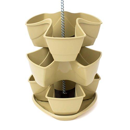 Galleria fotografica Vaso per piante erbe aromatiche COUBI 3 livelli a forma di trifoglio colore: beige