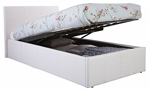 Right Deals UK Caspian Ottoman Gas Lift Up Storage Bed - White 3ft Single
