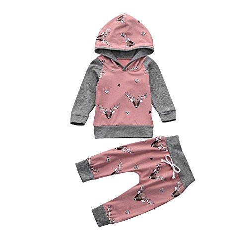 Beikoard Baby Langarm Blumendruck-Pullover-Set Neugeborenes Baby Mädchen Kleidung Mantel Floral Hosen Leggings Outfits Set (6M-24M (Rosa-2, 100)