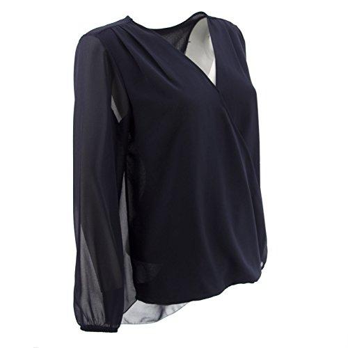 Netgozio Top à Manches Longues - Femme * Taille Unique Bleu