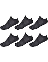 Aieoe Pack de Calcetines de Dedos Separados Finos Transpirable para Hombres de Algodón Calcetines Cortos Tobilleras - Dedos de Pies… 3YrDA