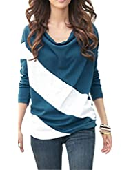 Bepei Femme T-Shirt Manches Longue Slim Fit Blouse en Coton Loose Couleur Joint
