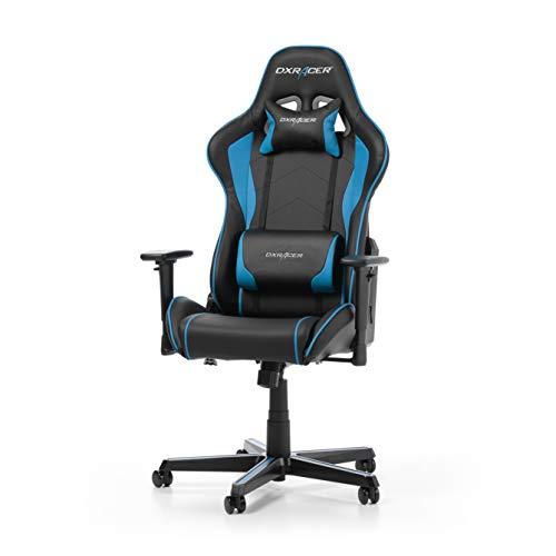 DXRacer (das Original) Formula F08 Gaming Stuhl für PC, ergonomischer Schreibtischstuhl fürs Büro aus Kunstleder, Schwarz-Blau