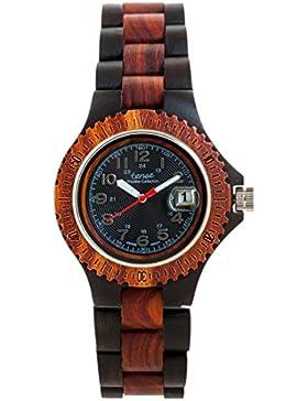 TENSE // Die Holzuhr - Womens Compass Sandelholz/Rosenholz - schwarz/braun - Damen-Uhr - Holz-Uhr L4100DR-B