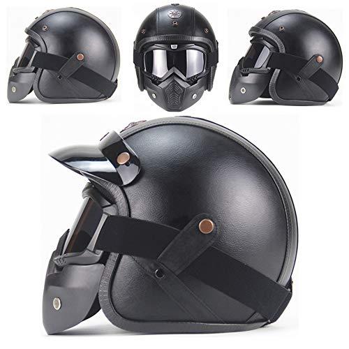 AA100 Casco Harley Casco Moto, Handmade Quattro Stagioni Personalizzati Occhiali Vintage filtri Porta Filtro Rimovibile (M, L, XL),1,L