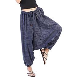 CandyHusky Telas a rayas de Algodón Unisex Holgada Hippie Boho Aladdin Yoga Harem Pantalones (Azul)