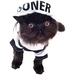 Divertido disfraz de perro y gato negro y blanco a rayas para preso y gorro de Halloween